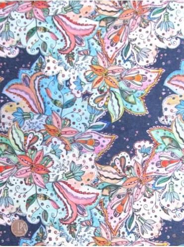 Футер Сказочные цветы (набивка на изнанке), 2-нитка с лайкрой, петля с п/э