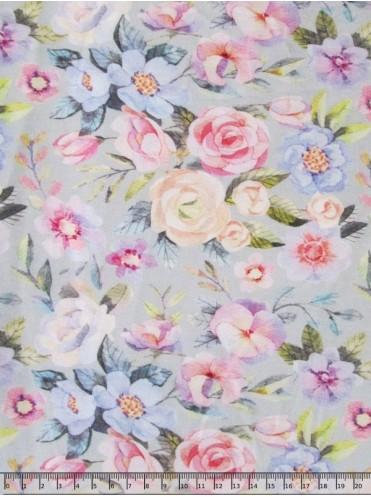 Кулирка с лайкрой Утренние цветы на св. серо-голубом