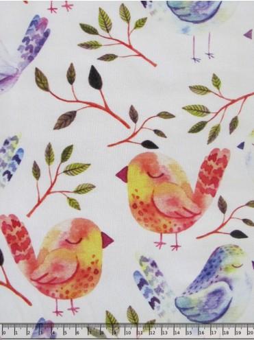 Футер Птички красные/фиолетовые на белом, петелька