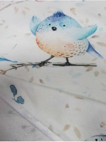 Футер Птички на молочном, 2-нитка с лайкрой, изнанка петля