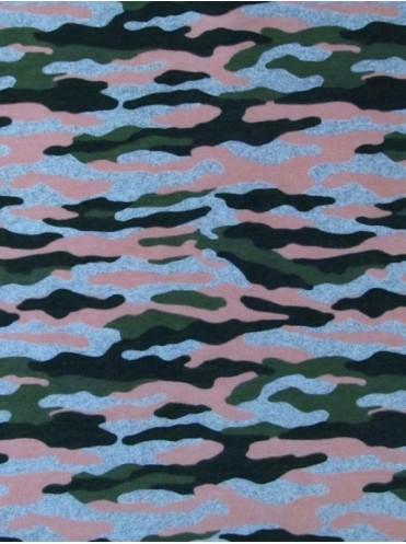Футер Камуфляж милитари/розовый персик, 2-нитка с лайкрой, петля