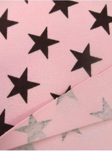 Рибана Звезды т. коричневые на св. розовом, с лайкрой