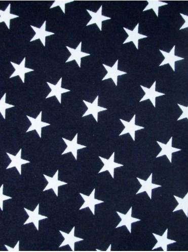 Рибана Звезды белые на т. синем - Отрез 0,3 м ИСПАЧКАН