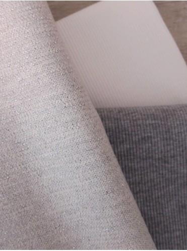 Футер с люрексом Молоко/Серебро, изнанка Серый меланж - 0,5 м