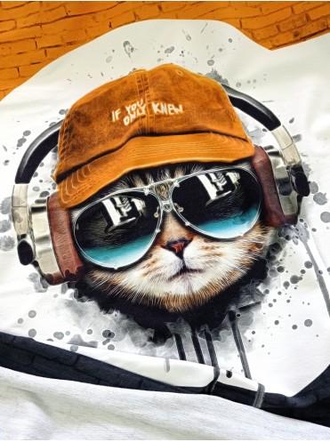 Футер купон Кот в наушниках, 65*180 см