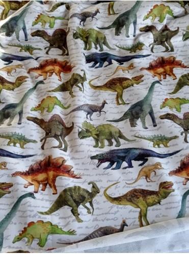 Футер Динозавры на белом, 2 нитка петля с/л