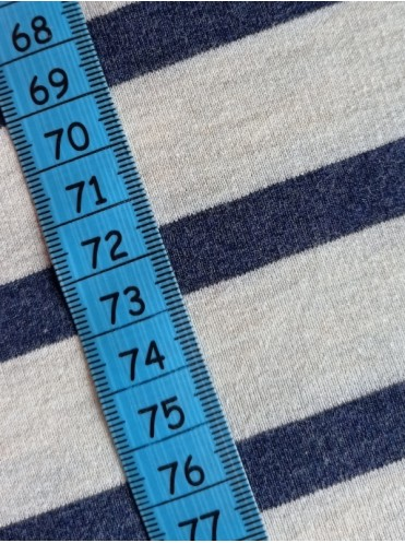 Футер Полоска т.синий 12мм беж меланж 26мм, 2-нитка петля