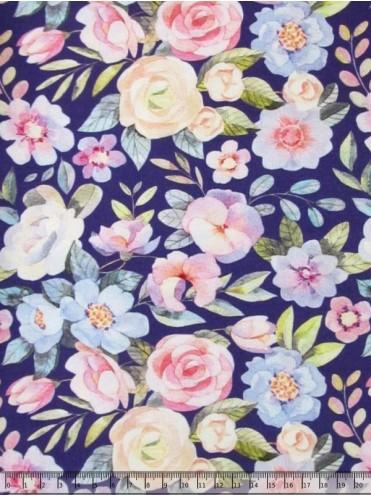 Кулирка с лайкрой Вечерние цветы на фиолетовом