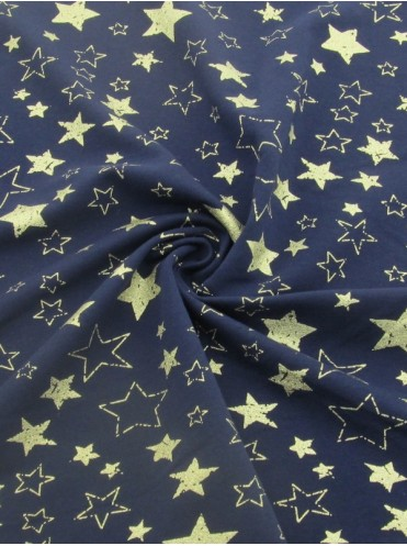 Футер с лайкрой Золотые звезды глиттер, петля