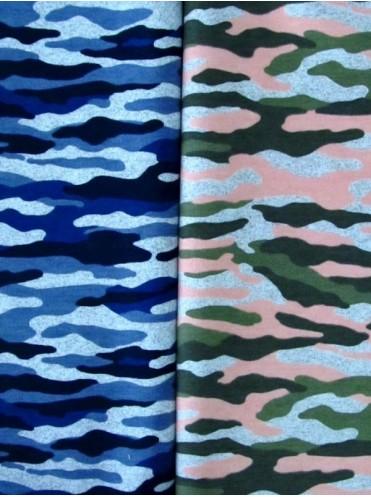 Футер Камуфляж синий/серый, 2-нитка с лайкрой, петля