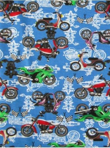 Футер Мотоциклы на синем, 2-х нитка хлопок с начесом