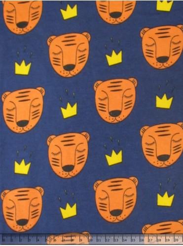 Интерлок Тигры на т. синем