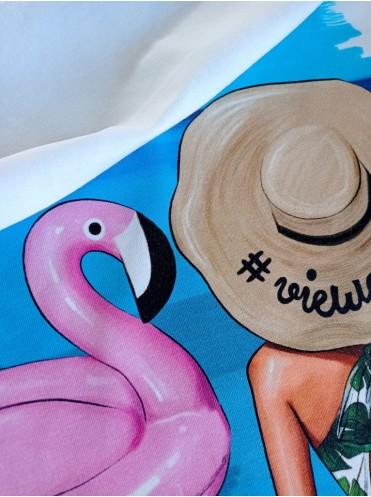 Кулирка панель Девочка с фламинго, с/л, 60*60 см