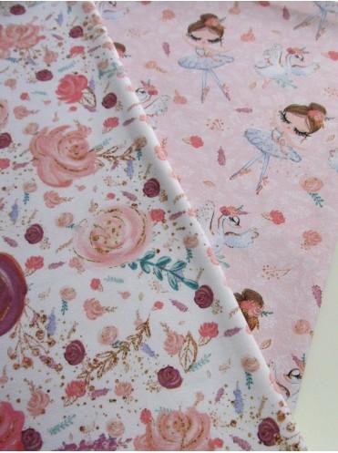 Кулирка с лайкрой Балерины и цветы на розовом