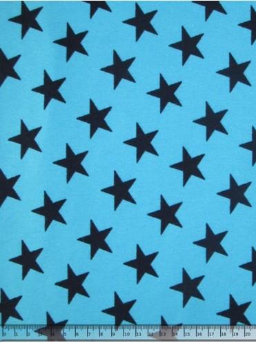 Рибана Звезды т. синие на голубом - Отрез 0,3 м