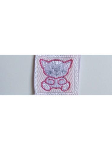 Нашивка № 2 Котенок розовый 2х2 см